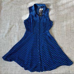 Ark & Co blue/black chevron dress, size S, NEW